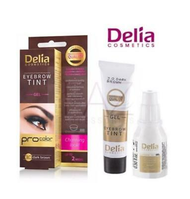 New Delia Henna Eyebrow Tint Kit - Gel Procolor  Dark Brown 3.0 Full Kit