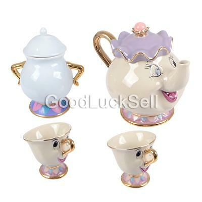 [1 Pot +2 Cups +1 Sugar Bowl ] Beauty And The Beast Tea Set Mrs Potts Chip Gift