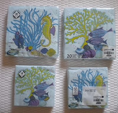 Mesafina Napkins FISH & CORAL THEME Cocktail or Luncheon Size 3 ply 20 ct OCEAN