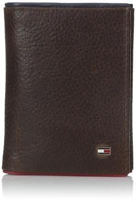 New Tommy Hilfiger Men's Brown Leather Credit Card Trifold Wallet