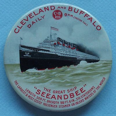 Rare Cleveland & Buffalo Advertising Pocket  Mirror/paperweight Great Ship C&b