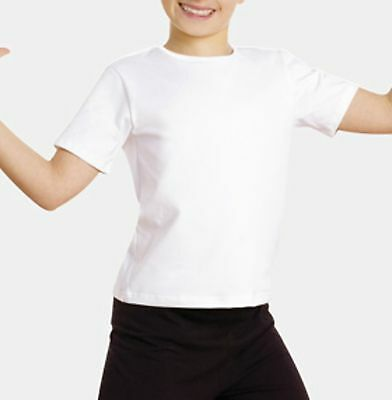Boys Dancewear White Shirt Thin Ballet Dance Top Body Wrappers Snug Fit Pullover