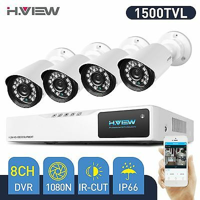 H.view 8CH 1080N DVR HD 720P Home CCTV Security Camera System Outdoor Night HDMI