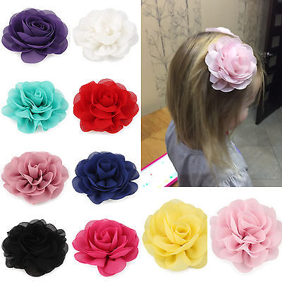 3 Inch Chiffon Flower Hair Clips Rolled Rose Fabric Hair Flowers For Baby Girls