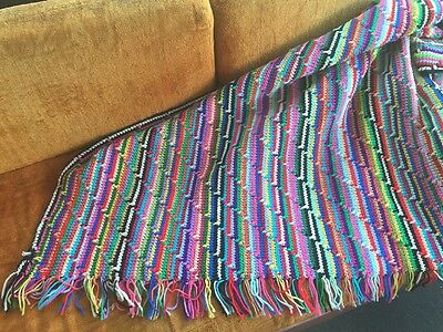 """Large Vintage Afghan Multi Color Stripped Colorful 78""""x48"""" Blanket Throw Unique"""