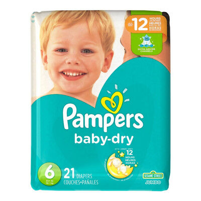 Pampers Baby Dry Diapers, Size 6 21 ea (Pack of 8)