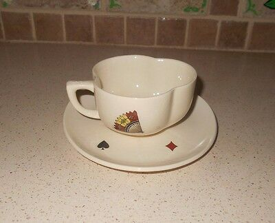 Vtg 1950s American Limoges Casino Flat Cup & Saucer Set Playing Card Pat 3 Avail