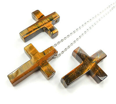 Cross Necklace Tigers Eye Large Bead Pendant Healing Crystals And Stones