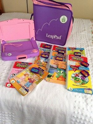 Leapfrog LeapPad Learning System, Pink Lot 10 books & 9 Cartridge Zip Carry Case