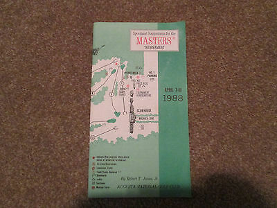 1988 Augusta National Golf Club Masters Tournament Spectator Guide Excellent