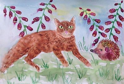 "Cat & Hedgehog among foxglove  large Magnet  4.25"" by 5.5"" By Casimira Mostyn"