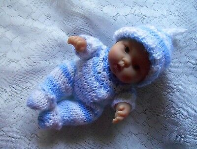 """Doll Clothes Blue Hand knitted romper set for husky baby boy Berenguer 8"""" 7in."""