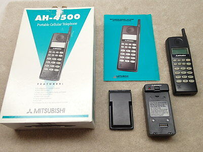 Mitsubishi AH-4500 Vintage Cellular Cell Phone Telephone Nice with Original Box