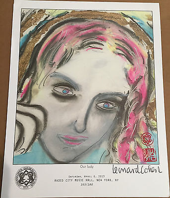 Leonard Cohen 2013 Old Ideas World Tour Our Lady Lithograph NEW