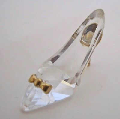 Delicate Crystal Glass Slipper With Gold Accents