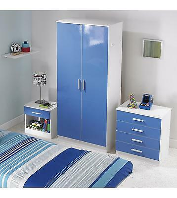 Carleton 3-Piece High Gloss Bedroom Set in Blue / Pink