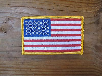 "AMERICAN FLAG EMBROIDERED PATCH iron-on Yellow BORDER USA US United States 2""H"