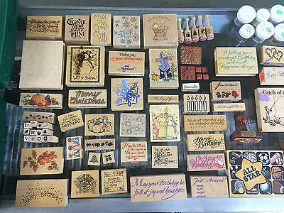 Lot Of 68 Rubber Scrapbooking Stamps, Two Cases and lots More