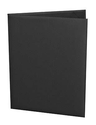 "(10pk) Menu Covers, 2-panel, 5.5"" x 8.5"" insert, Black Faux Leather"