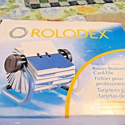 Rolodex Blue Rotary Business Card File with 200 Card Sleeves  63299