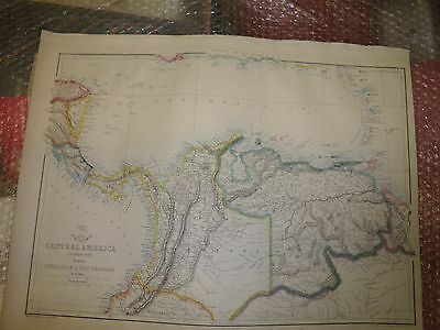 Central America Venezuela+New Granada S part map DispatchAtlas1863 Framed 20more