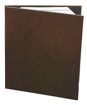 "(10pk) Menu Covers, 2 panel, 8.5"" x 11"", Brown Bonded Leather"