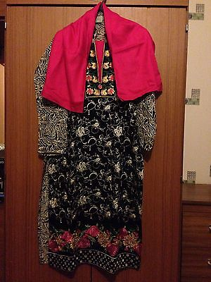 New Ladies Asian Black & Pink Size 34 Kids Cotton Salwar Kameez & Dupatta