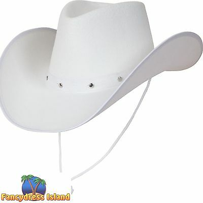 WHITE TEXAN COWBOY SUEDE LOOK HAT WILD WEST Adults Mens Ladies Fancy Dress
