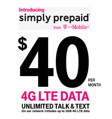 T-Mobile $40 Prepaid Plan - 1st Month Included Sim Package - Unlimited TT&Web