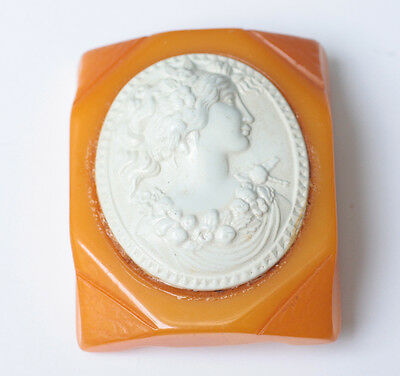 Art Deco Butterscotch Bakelite and Celluloid Cameo Brooch Vintage 1920s 1930s