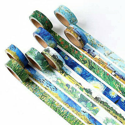 Van Gogh Inspired Washi Tape Designs Masking Tape Roll 15mm x 7 metres FREE PP