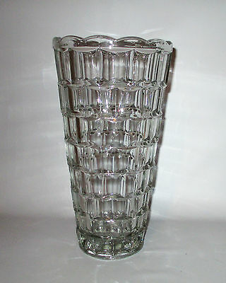"Sklo Union Clear Tapered Vase Indented Facets 10"" Vintage 1970s Czech Glass"
