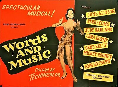 Words and Music Original British Quad Film Poster (1949) Judy Garland