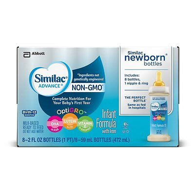 96 PACK Similac Advance Newborn NON-GMO Infant Baby Formula Ready to Feed 2Fl Oz