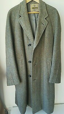 vintage mens Nicholson Harris Tweed coat size M/L green/brown vgc lined