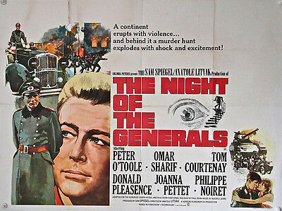 THE NIGHT OF THE GENERALS UK Quad poster (1967) Peter O'Toole, Omar Sharif