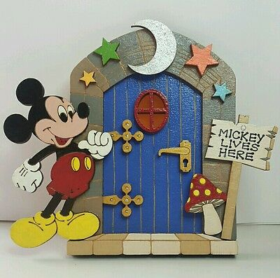 Mickey Mouse Door. Wooden Hand Painted. Fantasy Elf Fairy doors. & MICKEY MOUSE DOOR. Wooden Hand Painted. Fantasy Elf Fairy doors ...
