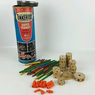 Tinkertoy Super Transit #146 Vtg Incomplete 72 pieces and Can Construction Set