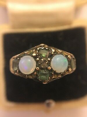 Victorian Antique 15ct Yellow Gold Scroll Ring Central Diamond Emerald And Opal