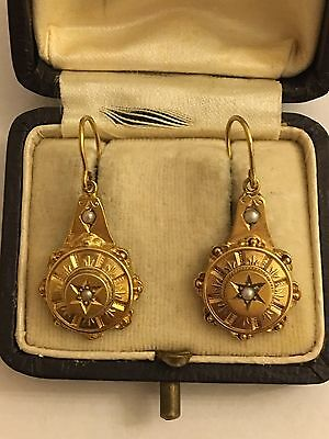 Victorian Antique Yellow Gold Ornate Large Earrings Pearl Detail
