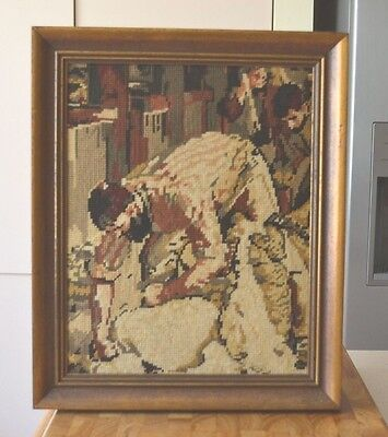Vintage Wool Tapestry Framed Canvas Shearer Shearing Sheep Iconic Image 43cm Tal