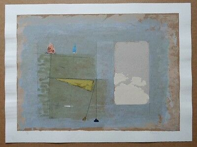MAURO CASARIN 1990 ABSTRACT ORIGINAL SIGNED LANDSCAPE PRINT YELLOW BLUE texture