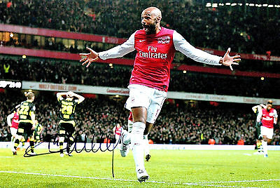 THIERRY HENRY ARSENAL FC HAND SIGNED PHOTO AUTHENTIC GENUINE + COA - 12x8