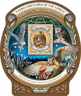 Z08 MLD16307b MALDIVES 2016 Owls and mushrooms MNH