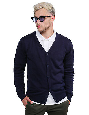 FashionOutfit Men Classic Basic V-Neck Button Down Layer Knit Cardigan Sweater