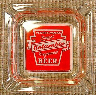 1940/50s MINTY Columbia Beer Brewery Pennsylvania Glass Ashtray Vintage PA VTG