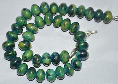 Vintage Azurite Malachite Beaded Necklace 17 inches 3613