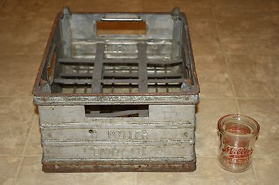 Antique Vintage Miller Dairy Cinti Oh 8 Oz Butter Jar Glass & Metal Crate-Graphi