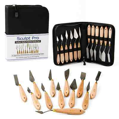 Palette Painting Knife Set- 12 Stainless Steel Art Palette Knives with Carrying