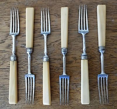 GOOD ANTIQUE SET of 6 SHEFFIELD SILVER PLATE DINNER TABLE FORKS Squared Handles